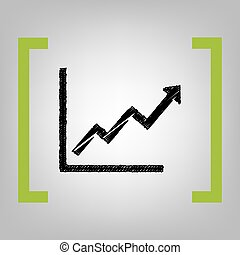 Growing bars graphic sign. Vector. Black scribble icon in...