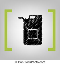 Jerrycan oil sign. Jerry can oil sign. Vector. Black...