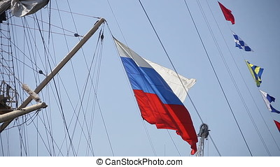 Russian Ensign Flag - Russian ensign flag waving alongside...