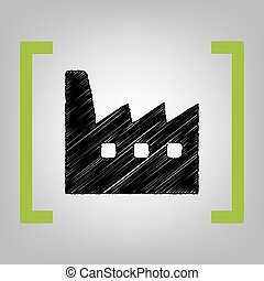 Factory sign illustration. Vector. Black scribble icon in...