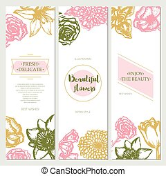 Beautiful Flowers - color hand drawn square template card.