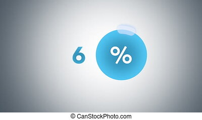 Blue glowing percentage progress indicator - Glowing blue...