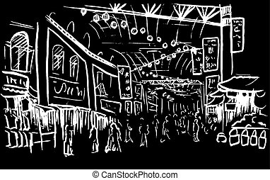 sketch of Chinatown