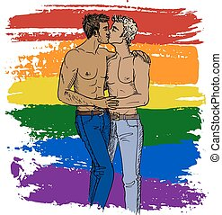 kissing gays and lgbt flag - Hand drawn illustration of...