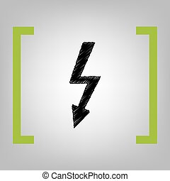 High voltage danger sign. Vector. Black scribble icon in...