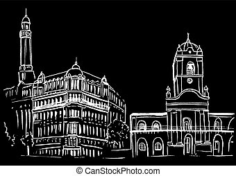sketch of Plaza de Mayo - Hand-drawn sketch of Plaza de...