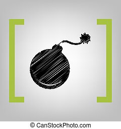 Bomb sign illustration. Vector. Black scribble icon in citron brackets on grayish background.