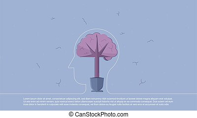 Backround with brain inscribed in line head. Concept...