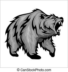 Grizzly Bear Mascot image isolated on white