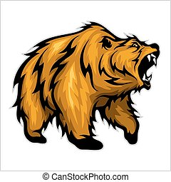 Grizzly Bear Mascot - vector image isolated on white