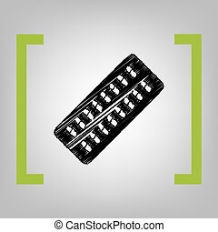 Medical Pills sign. Vector. Black scribble icon in citron...