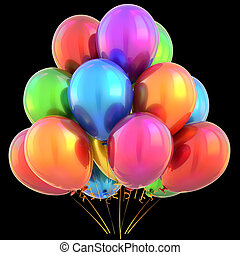 Balloons happy birthday party decoration multicolored colorful