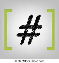 Hashtag sign illustration. Vector. Black scribble icon in...