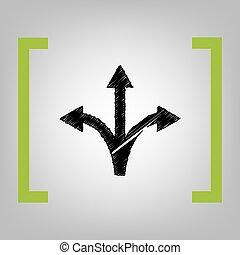 Three-way direction arrow sign. Vector. Black scribble icon...