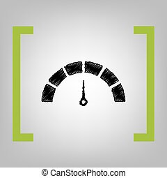 Speedometer sign illustration. Vector. Black scribble icon...