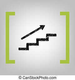 Stair with arrow. Vector. Black scribble icon in citron...