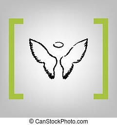 Wings sign illustration. Vector. Black scribble icon in...