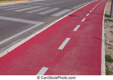 Red bicycle path
