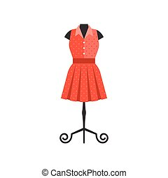 Red dress in black mannequin for tailor and boutique shop, flat design vector