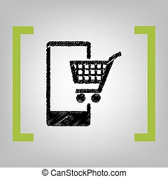 Shopping on smart phone sign. Vector. Black scribble icon in...