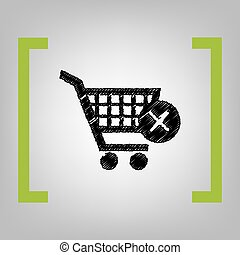 Shopping Cart with delete sign. Vector. Black scribble icon...