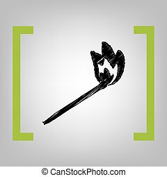 Match sign illustration. Vector. Black scribble icon in citron brackets on grayish background.