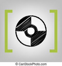 Vector CD or DVD sign. Vector. Black scribble icon in citron...
