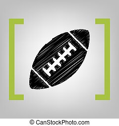 American simple football ball. Vector. Black scribble icon in citron brackets on grayish background.