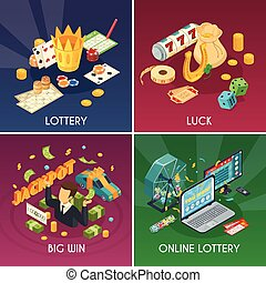 Lottery Concept Icons Set - Lottery concept icons set with...