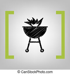 Barbecue with fire sign. Vector. Black scribble icon in citron brackets on grayish background.