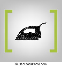 Smoothing Iron sign. Vector. Black scribble icon in citron...