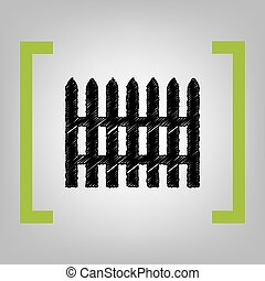 Fence simple sign. Vector. Black scribble icon in citron...