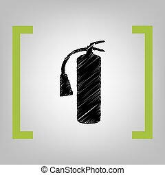 Fire extinguisher sign. Vector. Black scribble icon in citron brackets on grayish background.