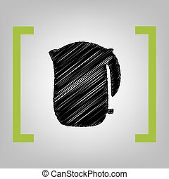Electric kettle sign. Vector. Black scribble icon in citron...