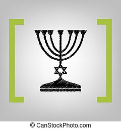 Jewish Menorah candlestick in black silhouette. Vector. Black scribble icon in citron brackets on grayish background.