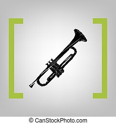 Musical instrument Trumpet sign. Vector. Black scribble icon...