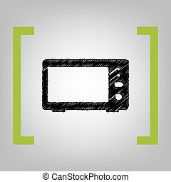 Microwave sign illustration. Vector. Black scribble icon in...