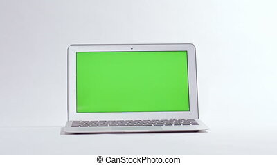 laptop on white background, green screen