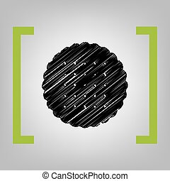 Round biscuit sign. Vector. Black scribble icon in citron...