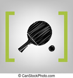 Ping pong paddle with ball. Vector. Black scribble icon in citron brackets on grayish background.
