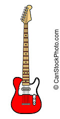 Red Electric Guitar over a White Background