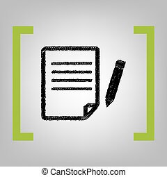 Paper and pencil sign. Vector. Black scribble icon in citron...