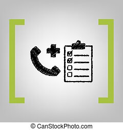 Medical consultration sign. Vector. Black scribble icon in...