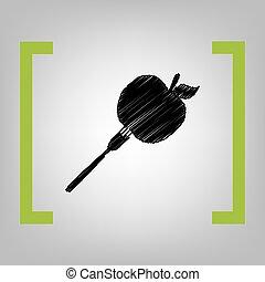 Vegetarian food sign illustration. Vector. Black scribble...