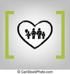 Family sign illustration in heart shape. Vector. Black...