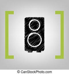 Speaker sign illustration. Vector. Black scribble icon in...