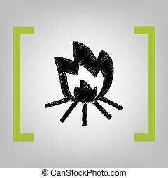 Fire sign. Vector. Black scribble icon in citron brackets on grayish background.