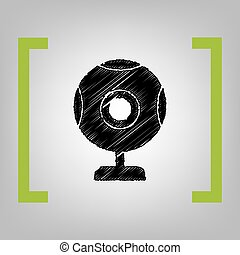 Chat web camera sign. Vector. Black scribble icon in citron...