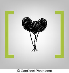 Balloons set sign. Vector. Black scribble icon in citron...