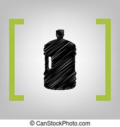 Plastic bottle silhouette sign. Vector. Black scribble icon...